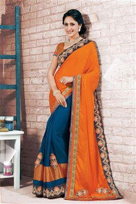 image of Goldan-Pink Color Designer Bemberg-Chiffon Saree with Embroidery