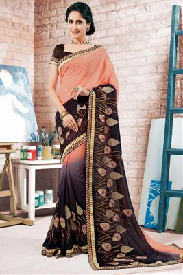 image of Green-Beige Color Fancy Fabric Designer Saree with Embroidery
