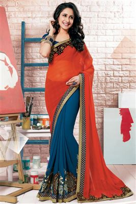 image of Dazzling Lycra-Georgette Party Wear Saree