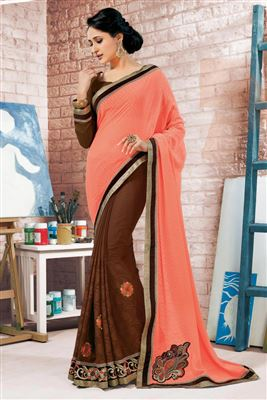 image of Cream And Pink Color Party Wear Printed Saree In Fancy Fabric