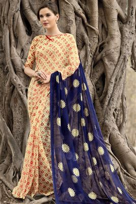 image of Blue Color Party Wear Designer Saree in Chiffon Fabric