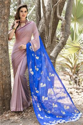 image of Fancy Print Silk Chiffon Fabric Saree With Blouse In Blue And Turquoise Color