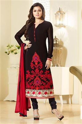 image of Ayesha Takia Black Color Georgette Anarkali Salwar Kameez with Embroidery