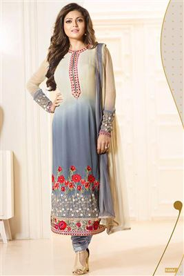 image of Drashti Dhami Designer Georgette Fabric Salwar Kameez in Grey And Cream Color