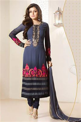 image of Drashti Dhami Grey Color Embroidered Georgette Salwar Kameez