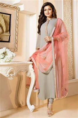 image of Drashti Dhami Beige Color Georgette Designer Salwar Kameez with Embroidery