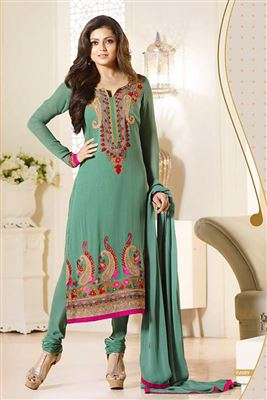 image of Embroidered Green Color Designer Georgette Salwar Suit Featuring Drashti Dhami