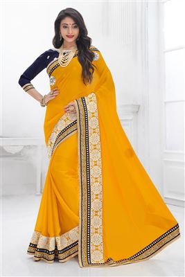image of Orange And Maroon Color Designer Party Wear Georgette And Jacquard Fabric Saree