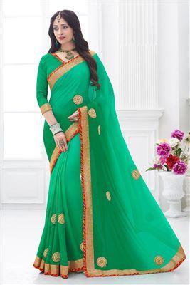 image of Designer Cream-Green Net-Satin Party Wear Saree