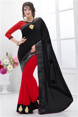 image of Designer Chiffon Saree in Black Color with Chiffon Blouse