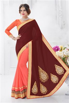 image of Red-Cream Party Wear Bhagalpuri Silk Saree-14478