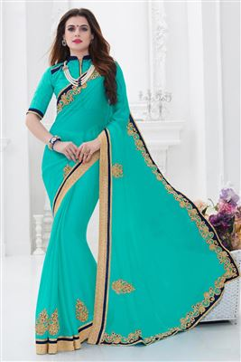 image of Chikoo Wedding Wear Embroidered Saree-7209