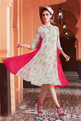 image of Sky Blue Linen Party Wear Kurti-7548