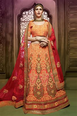 image of Attractive Mehendi Green Color Designer Lehenga