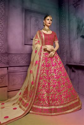 image of Embroidered Yellow Color Designer Lehenga Choli in Net Fabric