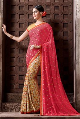 image of Yellow Formal Wear Printed Silk-Chiffon Saree