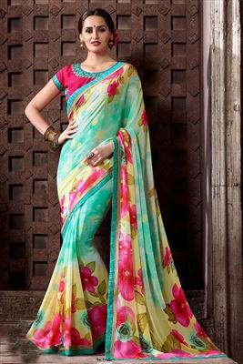image of Charming Cyan And Cream Designer Printed Saree