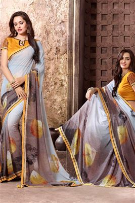 image of Grey Color Magnetic Georgette Printed Saree