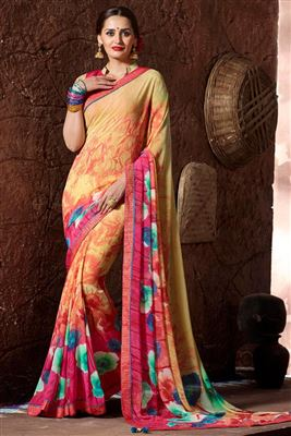 image of Golden And Pink Color Party Wear Printed Saree In Fancy Fabric