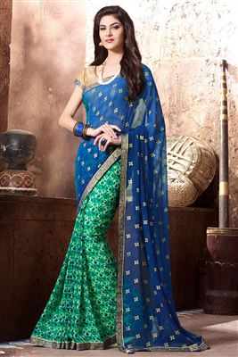 image of Green And Blue Color Georgette Designer Printed Saree