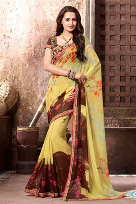 image of Fabulous Yellow Color Georgette Designer Saree