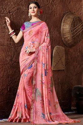 image of Designer Georgette Saree in Pink Color with Georgette Blouse