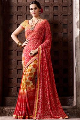 image of Riveting Georgette Fabric Party Wear Printed Saree