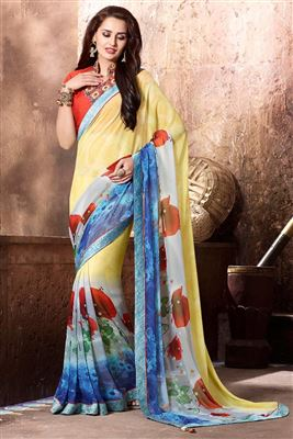 image of Yellow And Blue Color Beautiful Designer Printed Saree