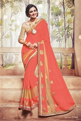 image of Festive Wear Cotton Jacquard Fabric Designer Saree In Brown Color