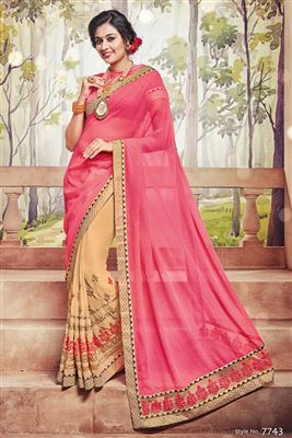 image of Marvelous Pink And Beige Color Designer Saree In Georgette Fabric