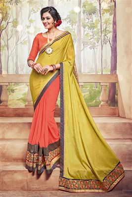 image of Orange And Yellow Color Soothing Georgette Fabric Designer Saree With Embroidery