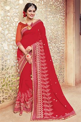 image of Red Color Alluring Georgette Saree With Designer Border