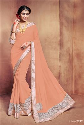 image of Beige And Pink Color Riveting Georgette And Net Fabric Designer Saree With Blouse