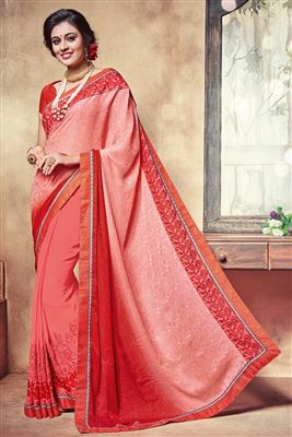 image of Orange-Red Color Party Wear Designer Georgette Saree with Blouse