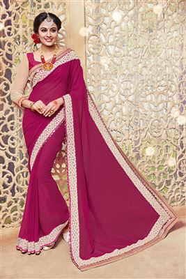 image of Pink Color Embroidered Designer Saree in Chiffon Fabric