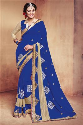 image of Magnetic Georgette Fabric Designer Blue Color Party Wear Saree