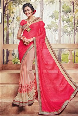 image of Pink And Peach Color Georgette Fabric Designer Party Wear Saree