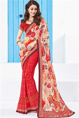 image of Charming Red And Cream Color Georgette Designer Printed Saree