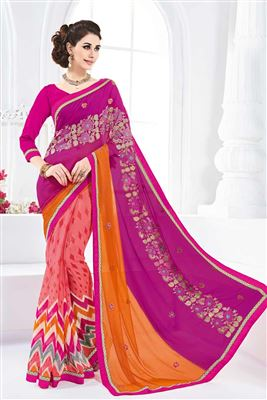 image of Riveting Pink And Purple Designer Printed Saree