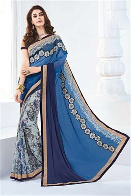 image of Comforting Georgette Printed Saree With Blouse