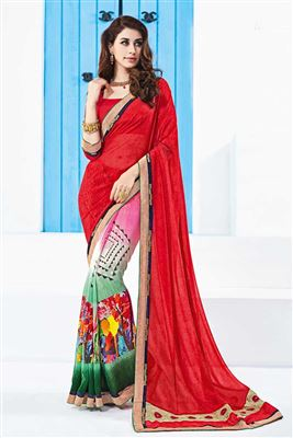 image of Red Color Soothing Georgette Printed Designer Saree