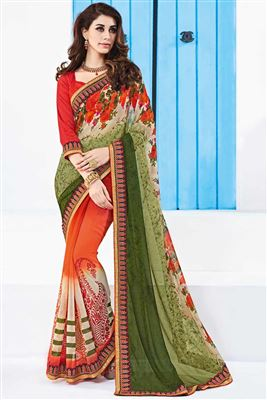image of Orange And Green Color Georgette Designer Party Wear Saree
