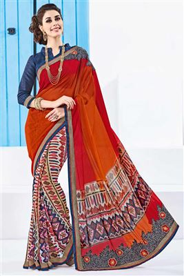 image of Charming Orange Color Georgette Designer Printed Saree