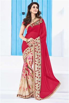image of Riveting Pink And Cream Designer Printed Saree