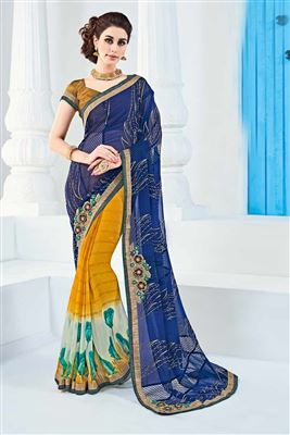 image of Comforting Georgette Fabric Printed Saree With Blouse