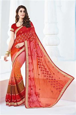 image of Pink And Orange Color Soothing Georgette Printed Designer Saree