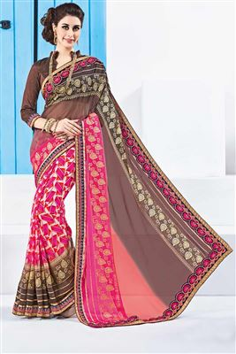 image of Pink And Brown Color Classic Printed Designer Saree