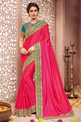 image of Sea Green-Cream Georgette Sari with Embroidery-410