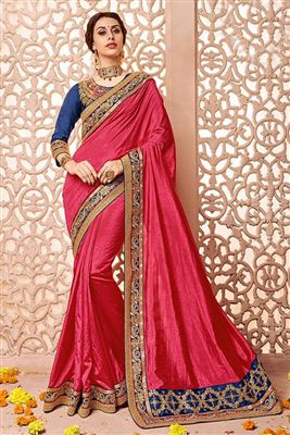 image of Red-Peach Color Designer Party Wear Chiffon-Net Saree with Embroidery