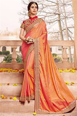 image of Designer Party Wear Georgette Fabric Saree In Orange Color